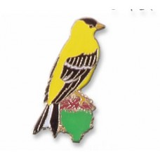 Goldfinch, American (on a thistle) pin